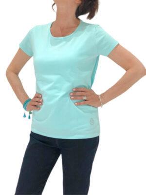 tee shirt uni turquoise face